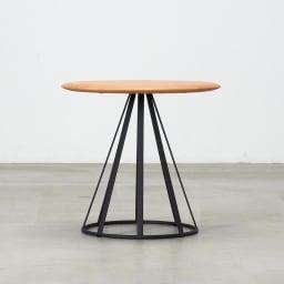 ラディア サイドテーブル 径44cm 高さ41cm ナチュラル 横から