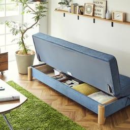 Skrevet/スクレベット 収納付きソファベッド 幅186cm [国産] [収納]壁付けしたままでもソファを動かさず、収納物が取り出せます。
