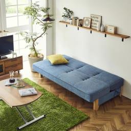 Skrevet/スクレベット 収納付きソファベッド 幅186cm [国産] [ベッド時]ブルー 急な来客でもベッドとして使える