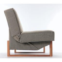 ツイード調ソファベッド 幅188cm [国産] リクライニング部分は見えないように縫製されています。