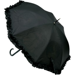 名画フリルジャンプ傘&折りたたみ傘セット ジャンプ傘 落ち着きのあるブラックに、さりげないフリルがおしゃれ。