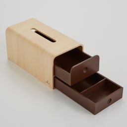 STOCK/ストック ティッシュケース 引き出しは上下段ともに前からも後ろからも引き出すことが出来ます。便利な機能性です。