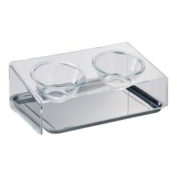 アクリル製ペットフードテーブル Sサイズ トレー付き
