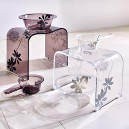 Sarina/サリナ アクリル製 手湯桶 左からブラウン、クリア ※お届けは手湯桶です。