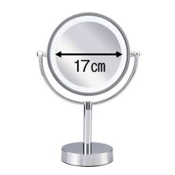 3色調光LED照明付き拡大鏡 小型 (ライト付き 卓上ミラー) しっかりと顔全体を確認できる径17cm