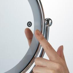 3色調光 LED照明付き 拡大鏡 大型 (ライト付き 卓上ミラー) タッチするだけで色が変わります。