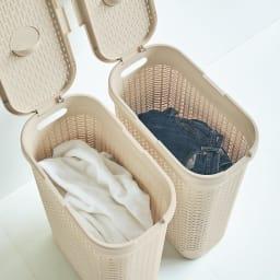 蓋付き 樹脂製 バスケット 40L タテ 同色2個組 スリムなタテ型は並べて使えて、白と色物など洗濯物の分別にも重宝します。