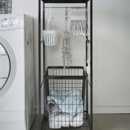 tower/タワー ランドリーワゴン 天板付きタイプ(バスケット1組) 洗濯機の横に置いても邪魔にならない、スリムなでスタイリッシュなデザインです