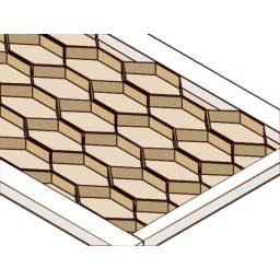 モダンランドリーラック 棚2段スライド引き出し2杯 棚板は3cm厚のハニカム構造を採用。棚板は3cm厚のハニカム構造を採用。1枚当たりの耐荷重は約25kgで重たいボトルもたくさん収納できます。