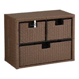 Nelia/ネリア ラタン調 ドレッシングルームベンチ 引き出し 幅60cm (イ)ダークブラウン タオルやパジャマ、化粧品等分別して収納するのに便利な引き出しタイプ。