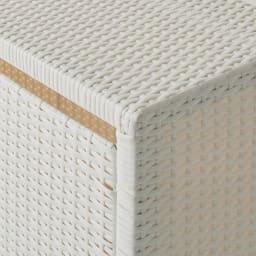 Nelia/ネリア ラタン調 ドレッシングルームベンチ ワゴン 幅90cm (ア)ホワイト ラタン調に見える樹脂素材で、水濡れに強く通気性もあります。