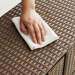 Nelia/ネリア ラタン調サニタリーチェスト3段 水濡れや汚れに強い樹脂製です。