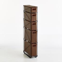 Nelia/ネリア ラタン調すき間ランドリーチェスト ロー高さ120cm 幅17cm ブラウン