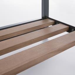 ヴィンテージ調 スリム Aライン ハンガー 幅80cm 木目を活かしたオイルステイン仕上げの棚板。