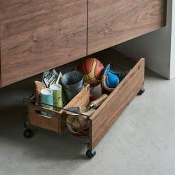 シューズボックス下ワゴン 収納庫 幅60 靴用のワックスやブラシなどのシューズケア用品もすっきりしまえます。