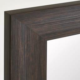 割れない軽量フィルムミラー 姿見 木目調フレーム 約71×161cm (ア)ダークブラウン 落ち着いた印象のウォルナット調木目を再現。