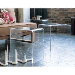 Gel/ジェル アクリルネストテーブル 3台セット 実用的には、使うときだけ好きな場所で使えるという利便性があります