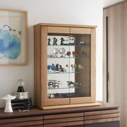 Taide/タイデ 天然木卓上キュリオケース 幅60cm高さ80cm インテリアに合わせて素材・色のバリエーションを豊富に揃えました。