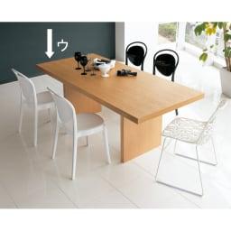 Multi マルチダイニングテーブル パネルレッグタイプ 幅160cm コーディネート例:ナチュラル お誕生日席には印象的なデザインのチェアをコーディネート。写真は幅200cmタイプ。