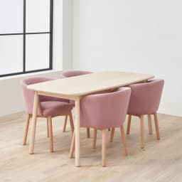 Ridge/リッジ ダイニングセット 天然木長方形テーブル5点セット テーブル幅160cm×75cm チェアとテーブルを合わせてデザイン。使わないときの椅子をしまっている状態も、美しいシルエットになるようこだわりました。