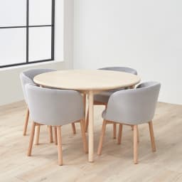 Ridge/リッジ ダイニングテーブル 天然木丸テーブル 直径110cm 脚部は外に向かって広がる形で、大きな椅子を入れてもすっきり。