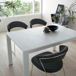 5点セット イタリア製伸長式ダイニングテーブル+NewYorkチェア4脚  テーブル幅130cm(伸長時190cm) ブラック(テーブル収納時)