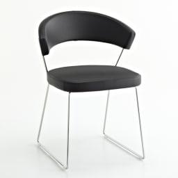 5点セット イタリア製伸長式ダイニングテーブル+NewYorkチェア4脚  テーブル幅130cm(伸長時190cm) チェア・ブラック