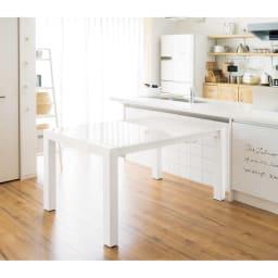 Steady ステディダイニングセット お得な5点セット (テーブル幅140cm・伸長時200cm) 収納時 (毎日がちょっと幸せになるダイニング・キッチン改造計画より)