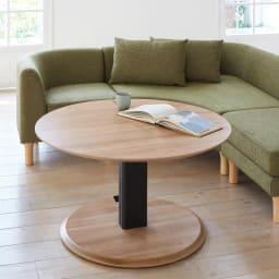 コーナーソファ3点セット HORA/ホーラ LDソファシリーズ 丸テーブルとのコーディネート例 (こちらのセットにテーブルは付きません。)