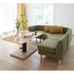 HORA/ホーラ 昇降式テーブル 角テーブル (イ)ナチュラル コーディネート例