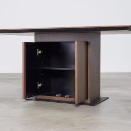 Grigia/グリージア 収納庫付きダイニングテーブル 幅150cm 収納部分アップ