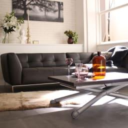 Lift-Up リフトアップ イタリア製昇降エクステンションテーブル[昇降式・伸長式・キャスター付き] テーブル幅110cm×70cm[伸長時140cm×110cm] ウェンジ