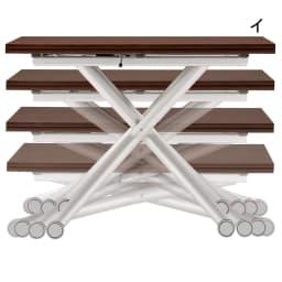 Lift-Up リフトアップ イタリア製昇降エクステンションテーブル[昇降式・伸長式・キャスター付き] テーブル幅110cm×70cm[伸長時140cm×110cm] 伸長時はソファと天板の距離が近づいて、お食事しやすい。