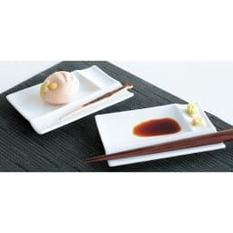 お箸が置けるパレット皿 幅13cm 4枚組  ホワイト