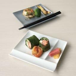 お箸が置けるパレット皿 幅17cm 4枚組  上からグレー、ホワイト 4枚組 取分け皿に便利なサイズ。