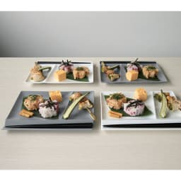 お箸が置けるパレット皿 幅24cm 4枚組 ホワイト2枚+グレー2枚 4枚組 箸置きとお皿が一体になった、使いやすさで人気を誇るスクエアディッシュ。ニュアンスあるグレーと上品なホワイトは、和洋を問わずに使えて、ワンプレートランチや普段にも活躍。