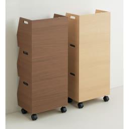 スタッキング収納ボックス 3段 キャスター付き 後ろもきれいな仕上げで、目隠しとしても。