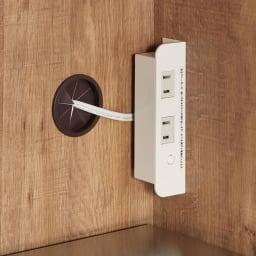 Cretty/クレッティ ステンレス天板 ナチュラルモダンキッチン収納 カウンター幅60cm 家電の収納部は2口コンセント付き。コーヒーメーカーやケトルにも。