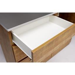 Cretty/クレッティ ステンレス天板 ナチュラルモダンキッチン収納 カウンター幅80cm スライドレール付きで収納物も楽々出し入れできます。
