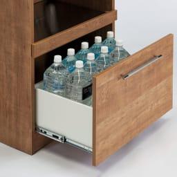 Cretty/クレッティ ナチュラルモダンキッチン収納 ストッカー 幅60高さ180.5奥行45cm 下段の引き出しには1.5Lペットボトルが収納可能です。