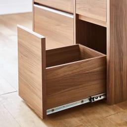Mallory/マロリー ステンレストップ隠せる家電収納キッチンカウンター 幅120cm高さ92.5cm 引き出しには滑らかに開閉できるスライドレールを採用。