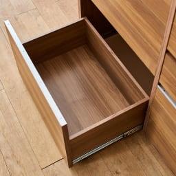Mallory/マロリー ステンレストップ隠せる家電収納キッチンカウンター 幅120cm高さ92.5cm 引き出し内部まで木目等の仕上げで上質感を感じさせるデザインに。
