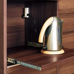 Mallory/マロリー ステンレストップ隠せる家電収納キッチンカウンター 幅120cm高さ92.5cm 引き出し内部も本体と同色の上質仕上げ。おしゃれさは勿論、収納物にも配慮しました。