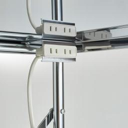 ステンレス製大型レンジ対応ラック ハイタイプ オープン 便利な2口コンセント付き