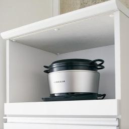 Torerant/トレラント コンパクトレンジカウンター 幅89.5cm・家電収納2段(高さ115cm) スライドテーブル上に家電の蒸気に強い調湿素材のモイスを使用。