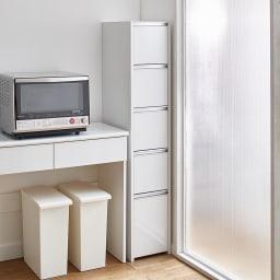 Ymir/ユミル キッチンタワーチェスト収納庫 幅35cm奥行55cm高さ156cm 上質な素材感としっかりとしたつくりでまる作り付けのような美しさに。