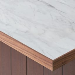 VineII/ヴィネ2 アイランドカウンターウォルナットタイプ 大理石調天板 幅120cm 大理石調天板 美しい大理石調メラミン天板は、熱や水、摩耗に強く、キッチンユースにぴったり。