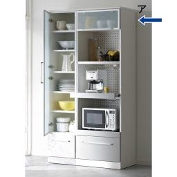 SmartII スマート2 ステンレスシリーズキッチン収納 ステンレスレンジボード 幅60cm ホワイト系 同シリーズのキッチンキャビネット幅40左開きの組み合わせ例です。