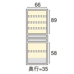 SmartII スマート2 ステンレスシリーズキッチン収納 扉内引き出し付きキッチンキャビネット 幅70cm 内寸図(cm)