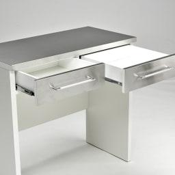 SmartII スマート2 ステンレスシリーズ 間仕切りオープンキッチンカウンター 幅90.5cm高さ85cm 引き出し2杯付きでこまごまとしたキッチン雑貨もきれいに整理整頓。